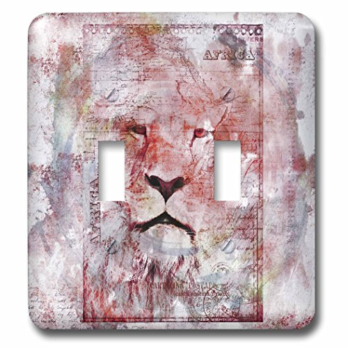 3dRose Andrea Haase Animals Illustration - Lion Watercolor Art - Light Switch Covers - double toggle switch (lsp_262968_2) by 3dRose