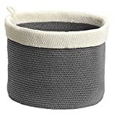 InterDesign Ellis, Hand Knit Round Bin for Towels, Blankets, Handbags, Clothing - Large, Gray/Ivory