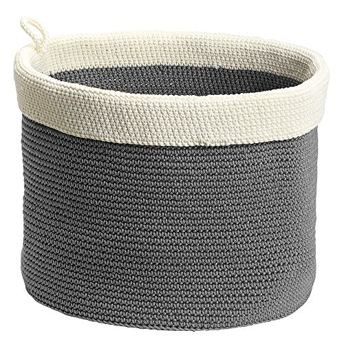 Incroyable InterDesign Ellis, Hand Knit Round Bin For Towels, Blankets, Handbags,  Clothing   Large, Gray/Ivory