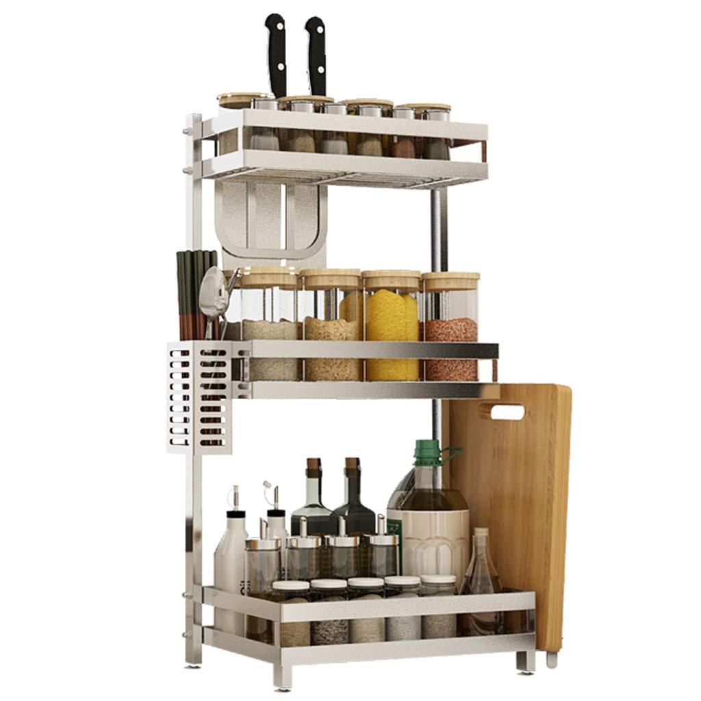 WLNKJ Kitchen Storage Rack Bracket, 2/3 Layer Multi-Function Desktop Seasoning Storage Rack, Stainless Steel Kitchen Spice Rack - Silver,b,3layer