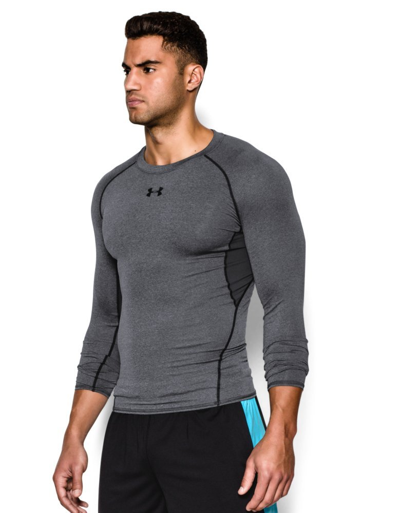 Under Armour Men's HeatGear Armour Long Sleeve Compression Shirt, Carbon Heather (090)/Black, Small by Under Armour (Image #3)