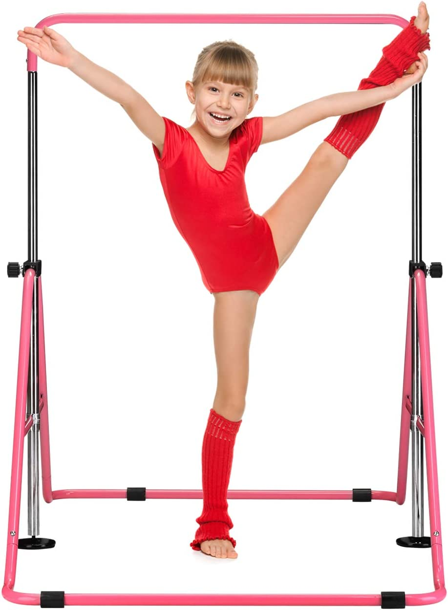 PUPZO Gymnastics Bars for Kid with Adjustable Hight Folding Training Kip Bar for Home Using