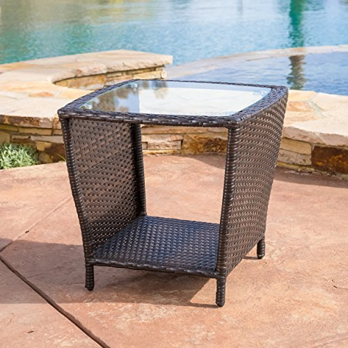 Easton Outdoor Brown Wicker Accent Table Tables Patio