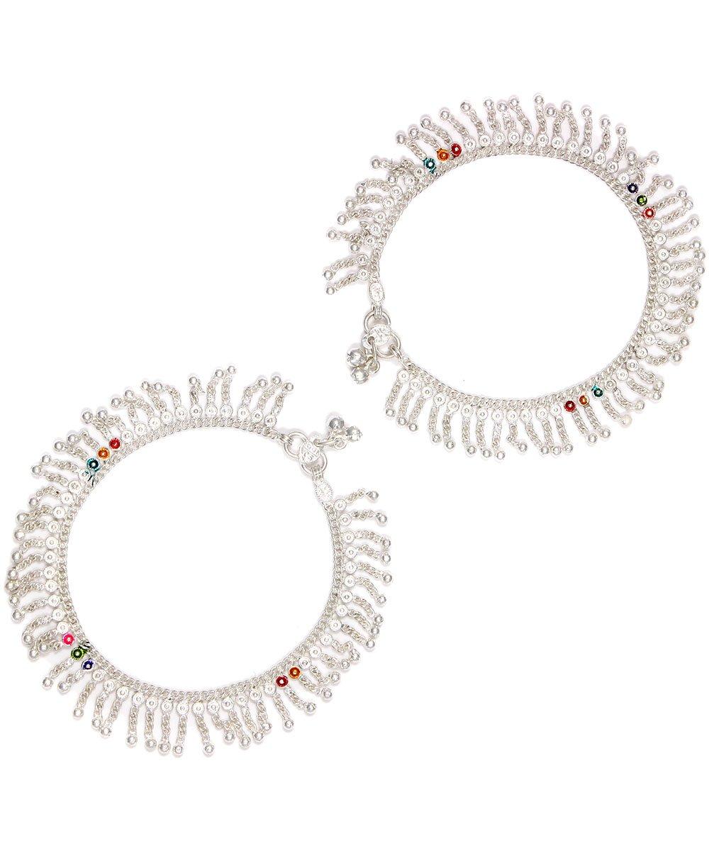 Womens Trendz Handmade Silver Plated Lovely full ball zalar anklet/Ghungroo Painjan for Women and Girls