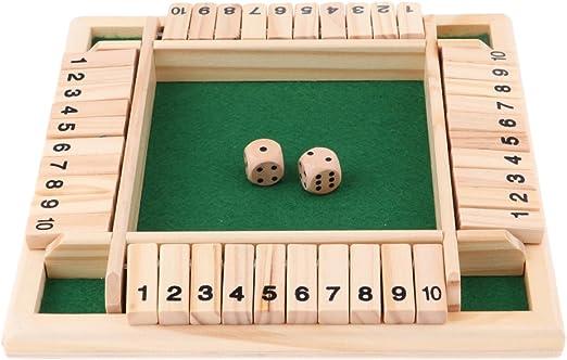 FLAMEER Juego De Mesa Familiar Cierre El Juego De Mesa Juego De Mesa De Madera De 4 Lados Y 10 Lados: Amazon.es: Juguetes y juegos