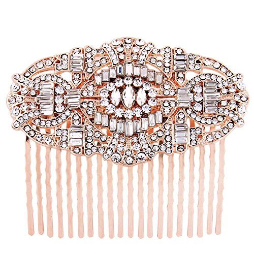 Price comparison product image Fairy Moda Crystal Bridal Hair Styling Comb Rose Gold Wedding Hair Piece Art Deco