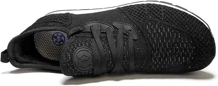 Zapatillas de Deporte Hombres Running Zapatos para Correr y Asfalto Aire Libre y Deportes Calzado Ligero Transpirables Gimnasio Sneakers, 36 EU, Negro: Amazon.es: Zapatos y complementos