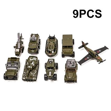 9pcs militar vehículos de juguete para niños, Mini helicóptero de ...