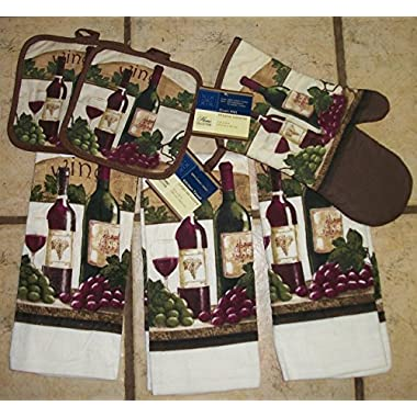 Georgeous Wine,Grape Deep Colored Kitchen Dish Towel Sets with Wine Pot Holder and Oven Mitt