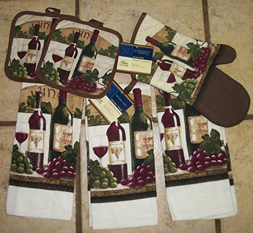 Georgeous Wine,Grape Deep Colored Kitchen Dish Towel Sets with Wine Pot Holder and Oven Mitt (Grapes And Wine Rugs compare prices)