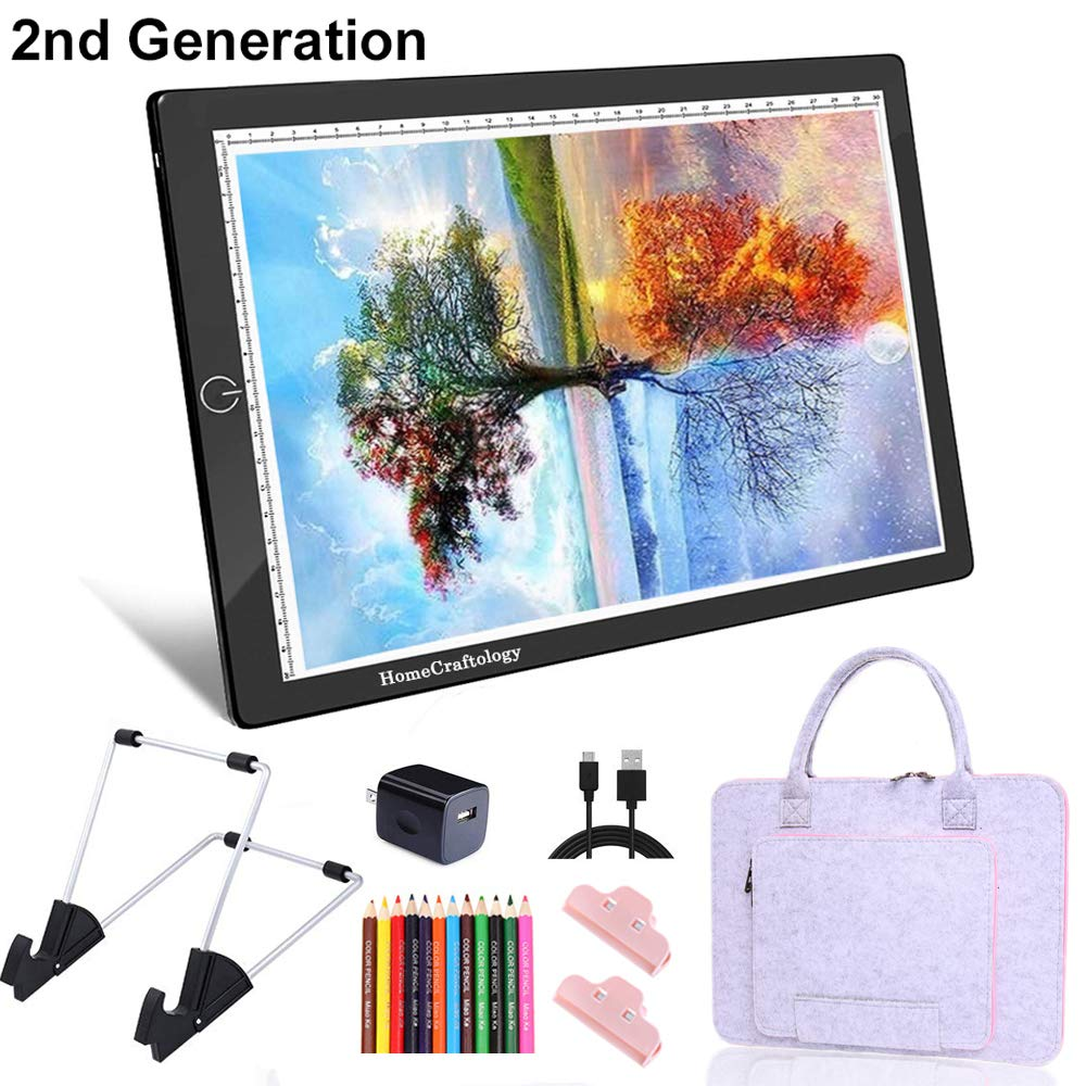 HomeCraftology A4 Diamond Painting Light Pad, 2nd-Generation Ultra-Thin Tracing Drawing Board, USB Powered Adjustable Brightness Light Board with Arts Crafts Accessories (Upgrade) by HomeCraftology