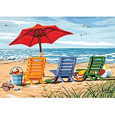 5D Diamond Painting Kits for Adults, Kids. Office Decoration, Room, Home, Gift for Her Him Beach Chair by The Sea 15.7x11.8in 1 Pack by Fairtie