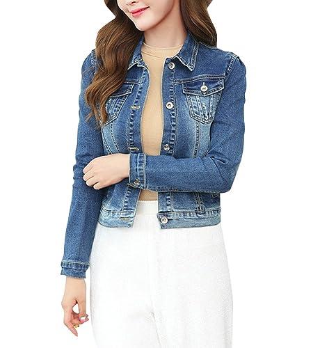 Mujer Slim Fit Vaqurero Chaqueta Abrigo Jacket Manga Larga Corto Chaqueta de Mezclilla Cárdigan