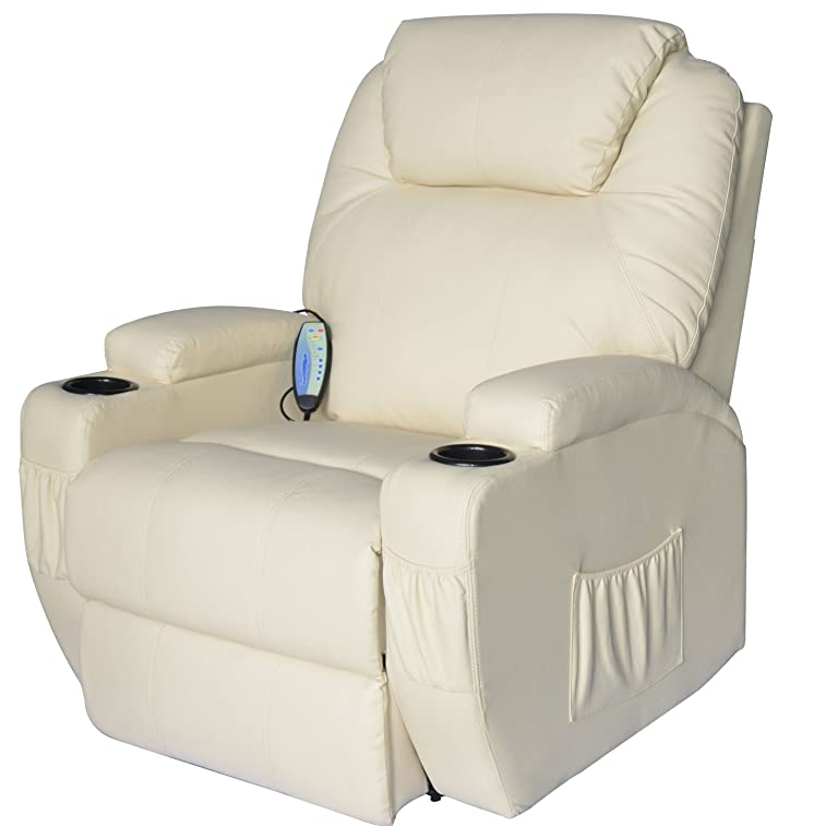 HomCom PU Leather Heated Vibrating 360 Degree Swivel Massage Recliner Chair with Remote - Cream