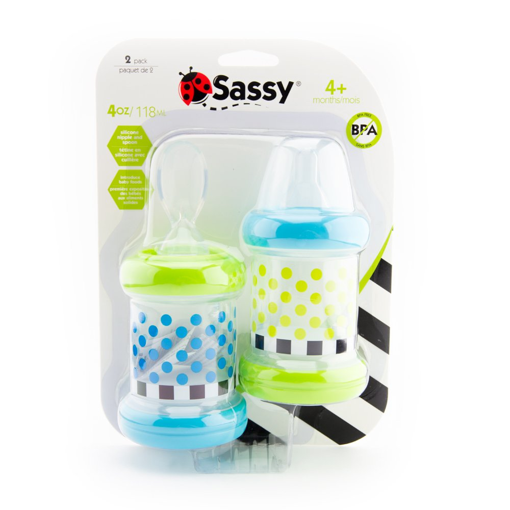 6 Sassy Baby Food Nurser Months Set of 2-4oz 100/% Silicone Nipple and Spoo...