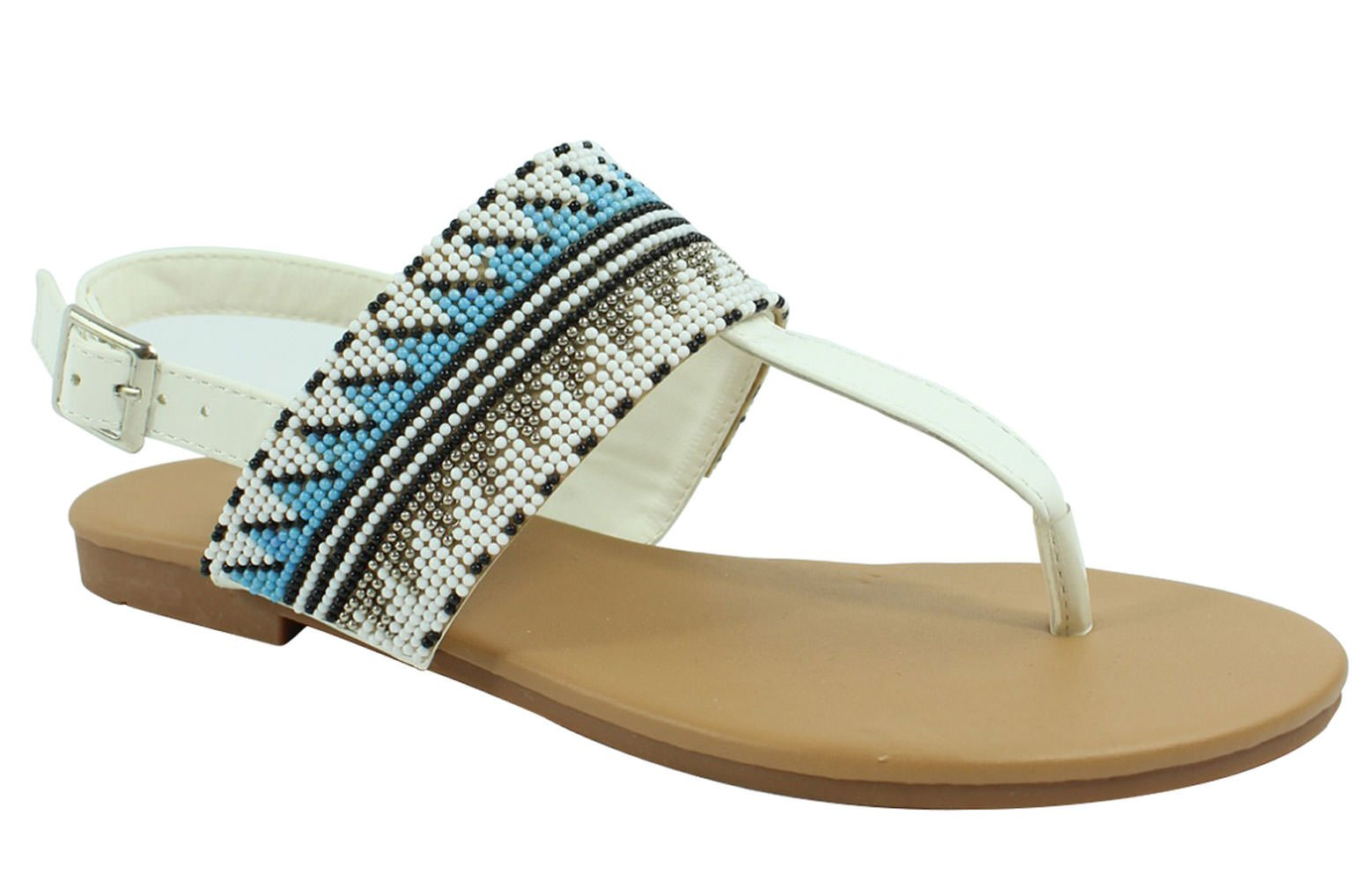 Top Selling White Gladiator Ankle Strap Open Toe Flat Slip On Hippy Modern Lightweight Classic Indian Ethnic Women Summer Bohemia Flower Beaded Flip-Flop Sandal Shoe for Sale Ladies (Size 7, White)