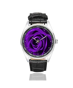 InterestPrint Men's Casual Black Leather Strap Watches Purple Rose Fashion Wrist Watches