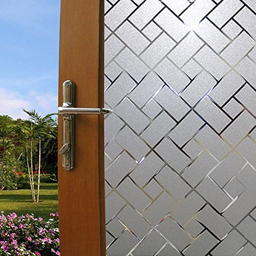 LYCSIX66 No Glue Static Cling Decorative Privacy Window Film 17.7'' x 78.7''/ 45cm x 200cm (frosted-grid) by LYCSIX66