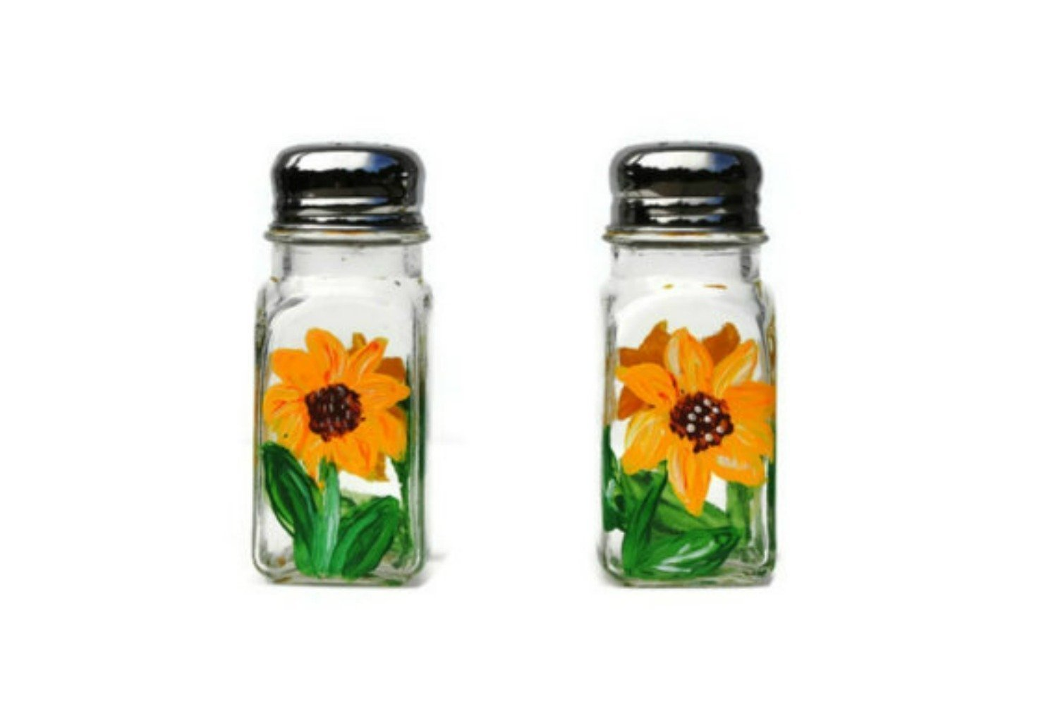 Hand Painted Yellow Sunflowers Glass Salt and Pepper Shakers Set, Floral Kitchen Decor