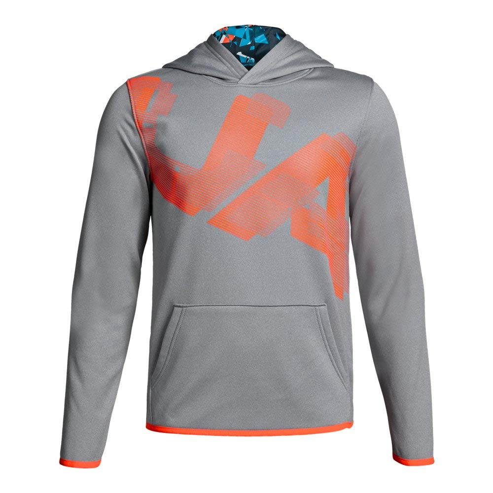 Under Armour Kids Boy's AF Highlight Printed Hoodie (Big Kids) Steel Light Heather/Blue Circuit Large by Under Armour