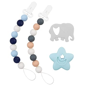 DaMohony 10Pcs Baby Multi Silicone Clear Pacifier Holder Clip Adapter for Rings Transparent