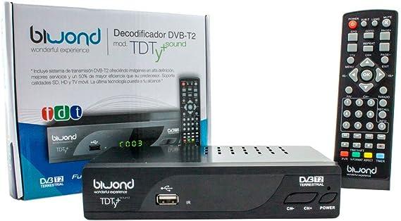 Biwond Reproductor TDT HD (sobremesa, DVB-T2, Negro): Amazon.es: Electrónica
