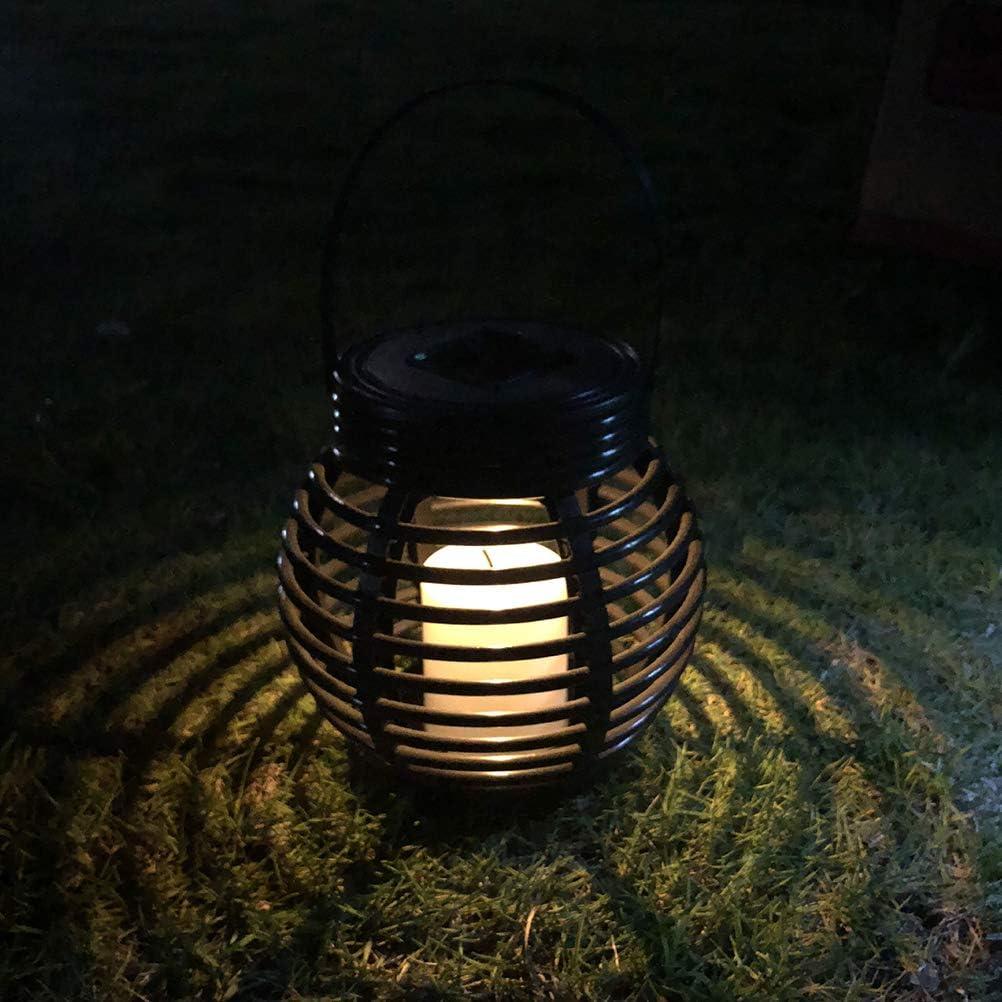 3 piezas, negro Uonlytech Linterna de rat/án solar linterna colgante solar para jard/ín al aire libre linterna con velas a prueba de agua