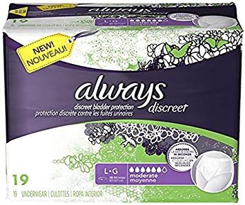 Always Discreet, Incontinence Underwear, Moderate Absorbency, Large, 19 Count
