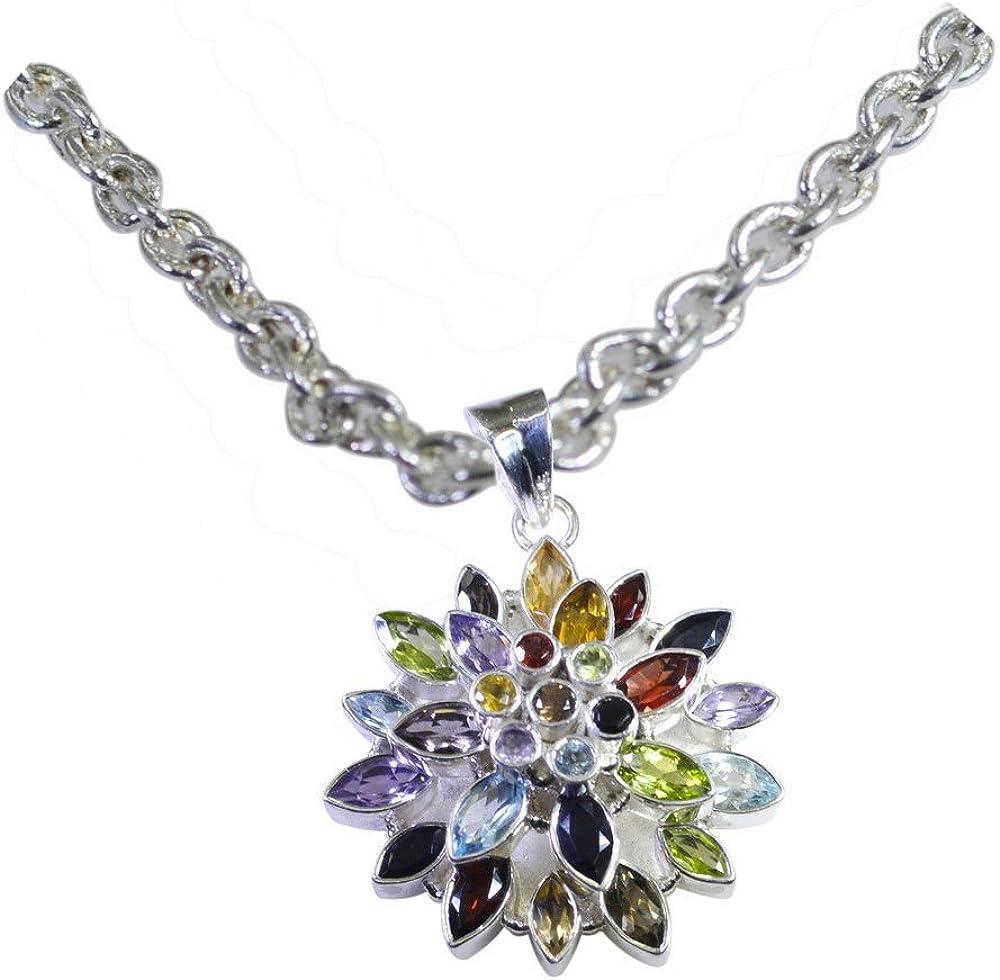 CaratYogi Real Blue Topaz Pendant for Women Round Birthstone Sterling Silver Charm Handmade Necklace