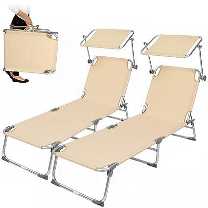 TecTake Set di 2 sedia sdraio da esterno con tetto pieghevole in ...