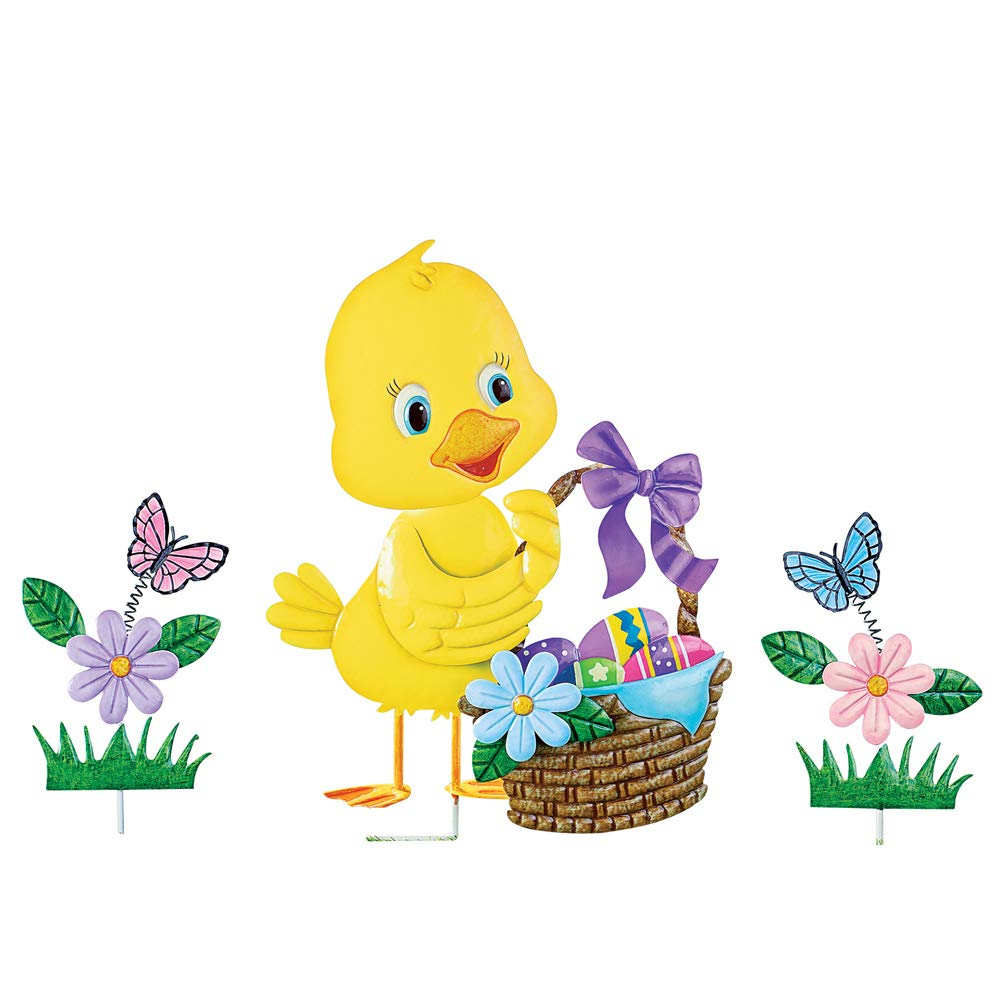 Collections Etc Easter Chick with Basket of Eggs and Flowers Metal Garden Stake Set - Spring Yard Decorative Accents