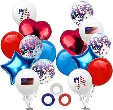 Amosfun 4 Juillet Ballons Etoile Drapeau Americain Imprimer Mylar