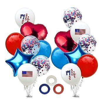 Amosfun 4 Juillet Ballons étoile Drapeau Américain Imprimer