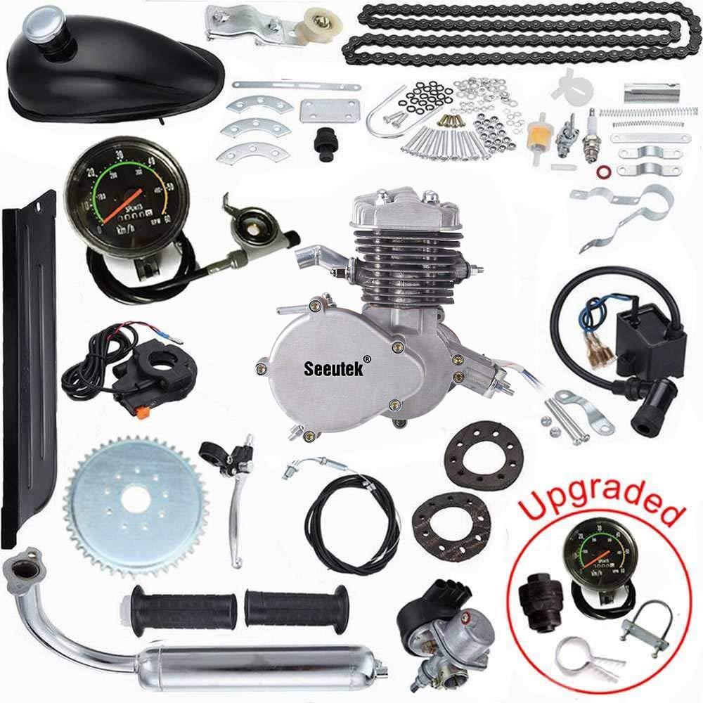 Seeutek Pk80 80cc Bicycle Engine Kit 2 Stroke Gas Kawasaki 350 Fe Wiring Schematic Motorized Bike Motor Upgrade With Speedoemter Sports Outdoors