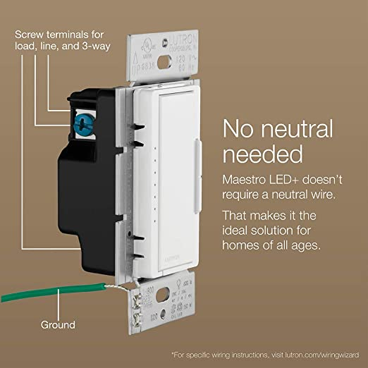Lutron Maestro LED+ Dimmer Switch with Wallplate | for Dimmable LED,  Halogen & Incandescent Bulbs, Single-Pole or Multi-Location | MACL-153M-WH  | White - - Amazon.com