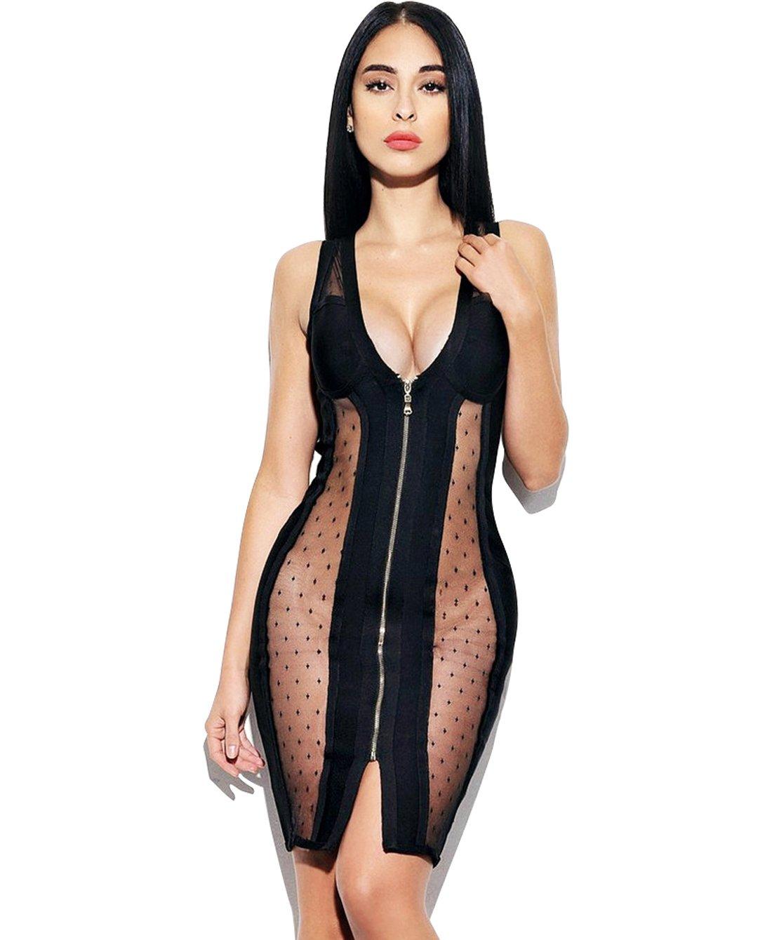 YOLI Women's Sexy Mesh Splicing Sleeveless Deep V Bodycon Dress (XL, Carbon Black)