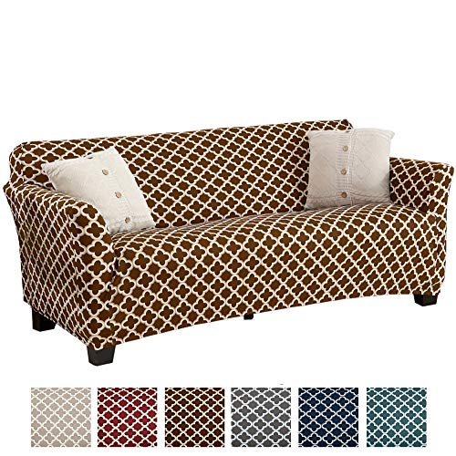 Home Fashion Designs Printed Stretch Sofa Furniture Cover Slipcover Brenna Collection, Chocolate ()
