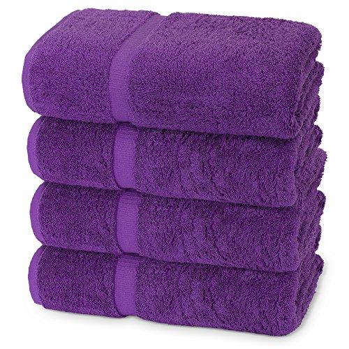 Indulge Linen Extra Soft Bath Towels, Set of 4, 100% Turkish Cotton, Rich Purple