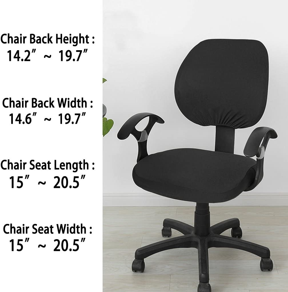 sfoderabile e lavabile Coprisedia elasticizzato Swivel Gaming Racing per sedia da computer adatto per sedia da ufficio Nero con 1 paio di braccioli