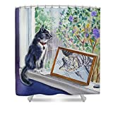 Pixels Shower Curtain (74'' x 71'') ''Cats And Mice Sweet Memories''