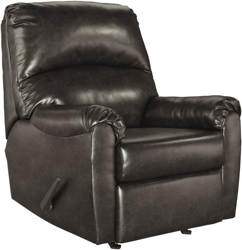 Ashley Furniture Signature Design - Talco Faux Leather Rocker Recliner - Contemporary - Gunmetal