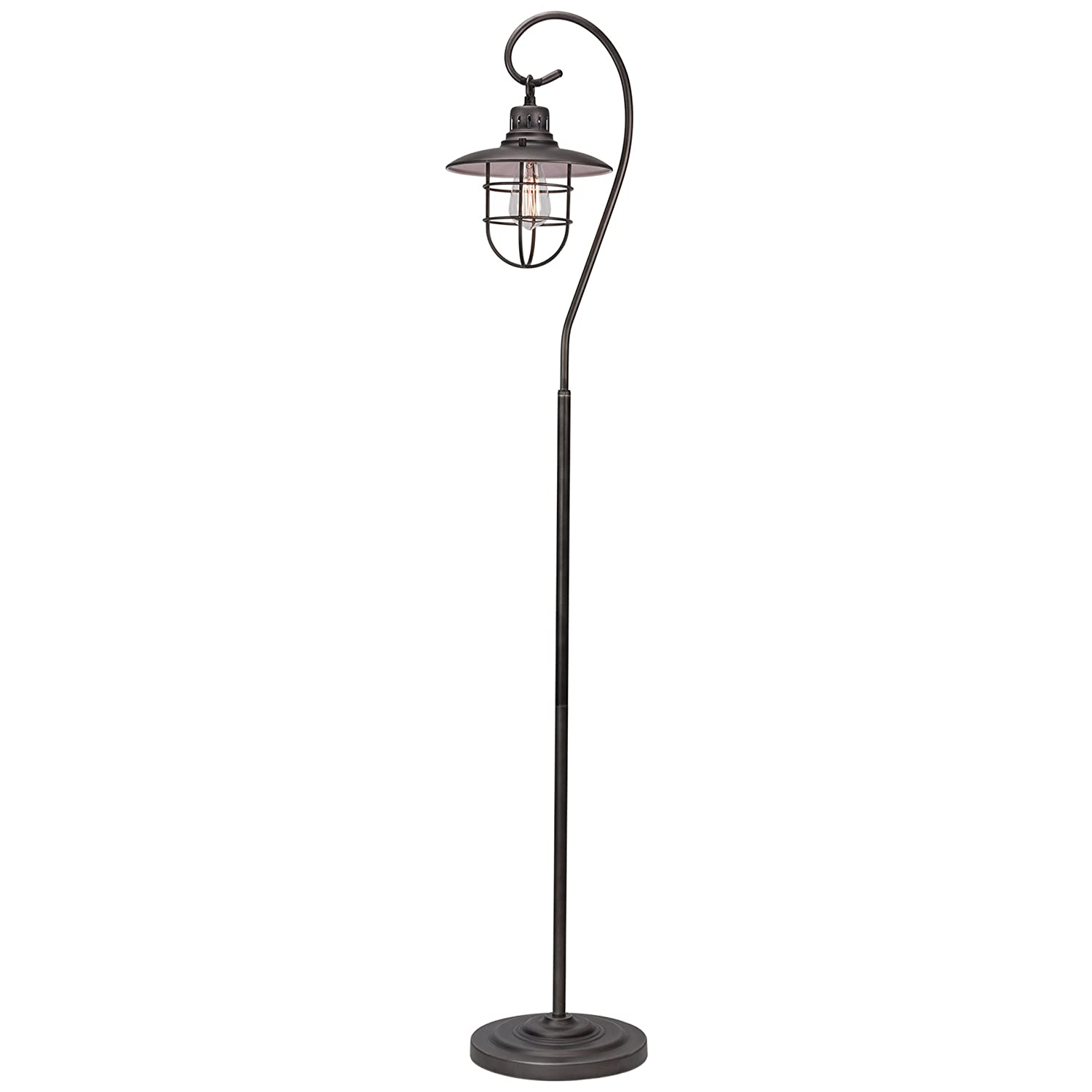 "Kira Home Lantern 58"" Industrial Floor Lamp + Hanging Shade Design + Cage, Brushed Pewter Finish"