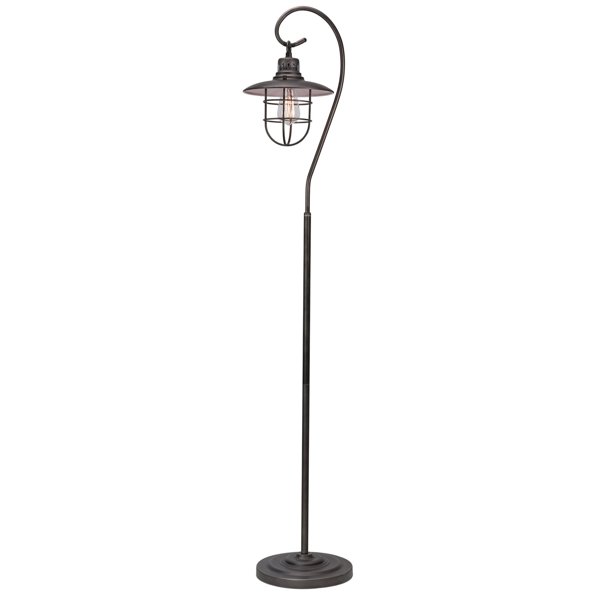 Kira Home Lantern 58'' Industrial Floor Lamp + Hanging Shade Design + Cage, Brushed Pewter Finish