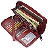 Women RFID Blocking Wallet Leather Zip Around Clutch Large Travel Purse Wrist Strap (Wine Red)