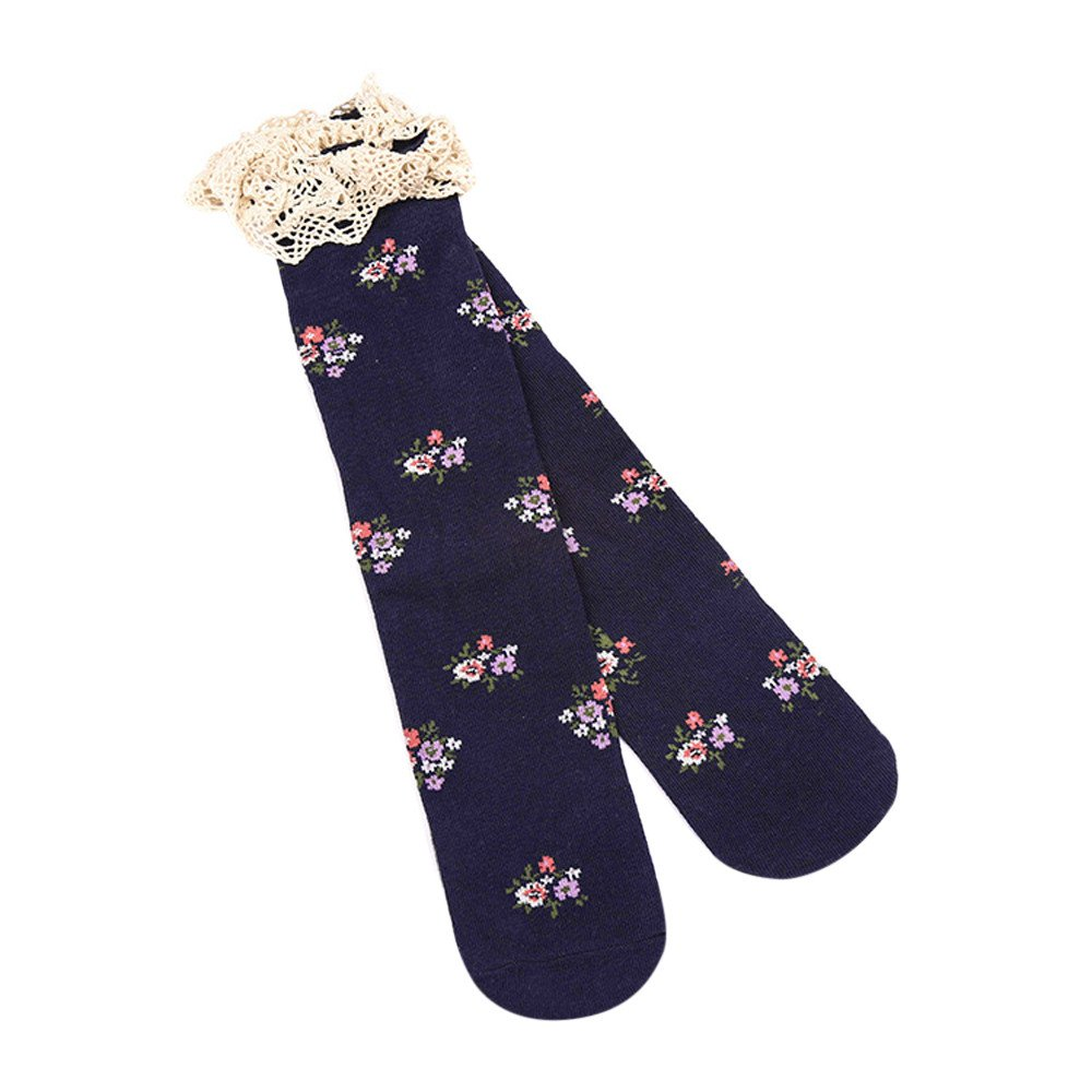 Kids Girls Baby Princess Lace Floral Boot Socks Winter Knee High Warm Socks