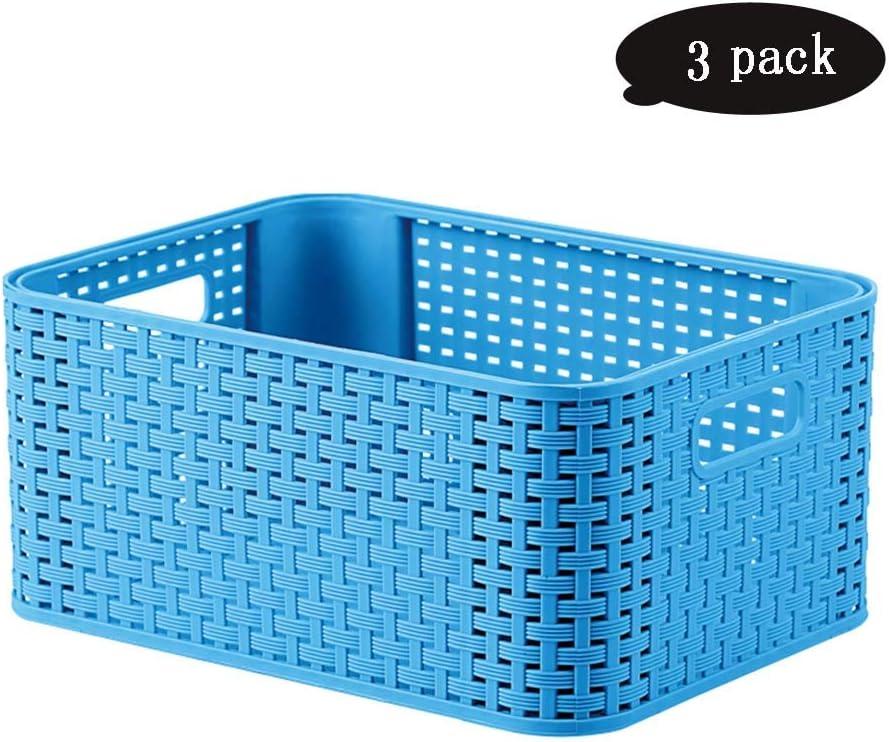 LHY SAVE 3 Pcs Cesto,Cesto con Efecto Mimbre,Caja De Almacenaje con Efecto para Cocina, Baño, Escritorio Y Gabinete,Azul: Amazon.es: Hogar