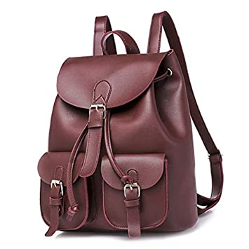Amazon.com: HAOHAO Women Leather Backpack Black Bolsas ...