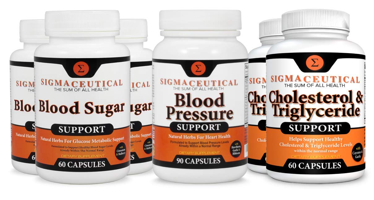 Metabolic Syndrome Supplements - Blood Pressure, Cholesterol Lowering & Blood Sugar – 6 Month Bundle