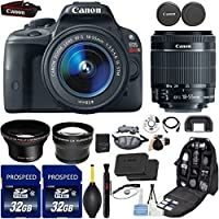 Canon EOS Rebel SL1 DSLR Camera with 18-55mm IS STM Lens + Kit Includes, 58mm HD Wide Angle Lens + 2.2x Telephoto Lens + 2Pcs 32GB Commander MemoryCard + Backpack Case + Grip Strap + Cleaning Kit Overview Review Image