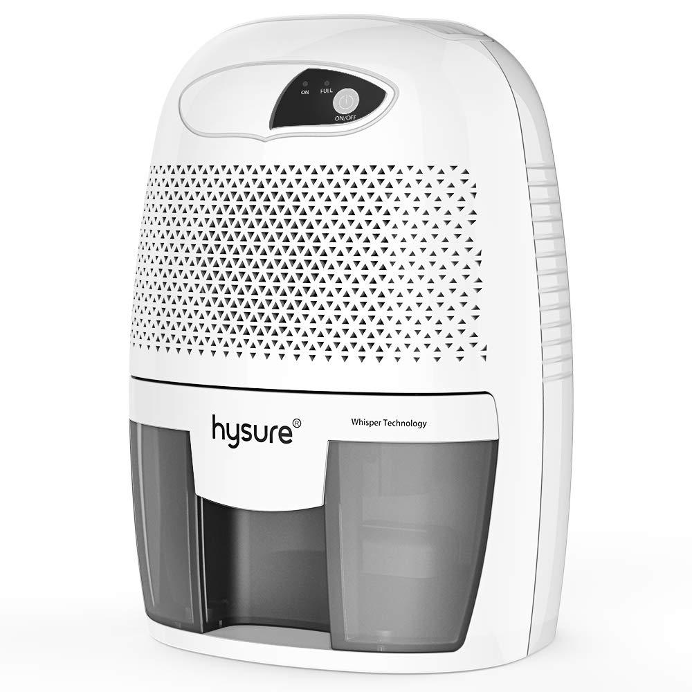Hysure Household Portable Dehumidifier, 1400 Cubic Feet (150 sq ft), Compact Portable Damp Air Mold Moisture in Home Kitchen Bedroom Basement Caravan Office Garage (500ml) (Grey)
